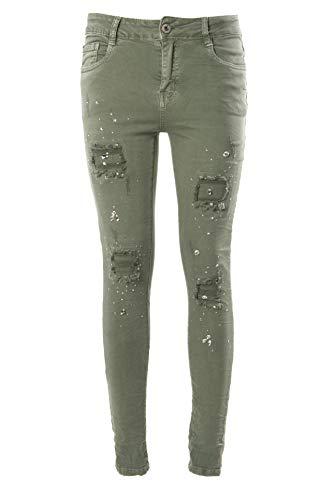 Laphilo - Pantalone Jeans Denim Donna Cinque Tasche Elastico Strappato con Strass Brillanti (cod. 828) (Verde Militare, M)