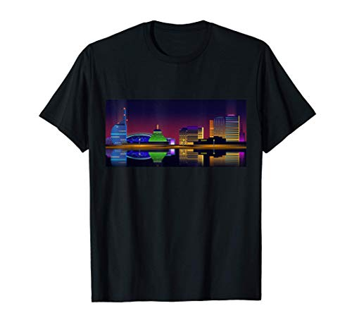 Bremerhaven Skyline bei Nacht als Grafikdesign T-Shirt