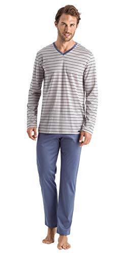 Hanro Herren Madu Long Sleeve Pajama Pyjama Set, Matrosenstreifen, Small