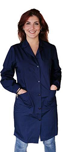 Petersabitidalavoro Camice da Lavoro Donna Classico Lungo Leggero Blu Royal o Blu Scuro Grembiule Magazzino (54, Blu Scuro)
