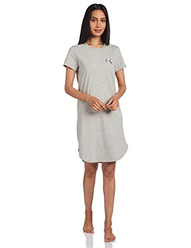 Calvin Klein Damen S/s Nightshirt Nachthemd, Grau (Grey Heather 020), Small
