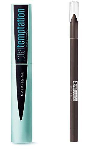 Kit Mascara Waterproof Noir Temptation + Crayon Liner Brun Marron Très Longue Durée (Kit de 2 Produits)