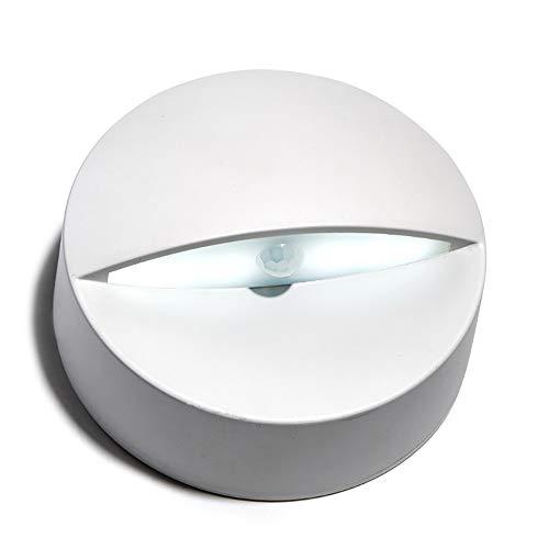 HQFC LED-achterlicht, draadloos, werkt op batterijen met bewegingssensoren, 3 m geïntegreerde plakband, ovaal, voor Corridoio Scala (wit/warm)