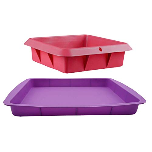POKALI 2Pcs Silicone Square Cake Baking PanSwiss Roll Cake Mat Flexible rectangle Baking Tray Casserole Baking Pan Silicone Baking Bakeware Brownie Pan Red/purple)
