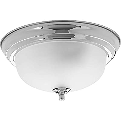 Progress Lighting P3924-15ET Transitional One Light Flush Mount from Dome Glass Collection Finish, Polished Chrome