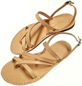 Greek Handmade Sandals, Women Genuine Leather Handcrafted Ancient Style, Gladiator Spartan Roman Summer Flat Slide Slingback Shoes Fashion