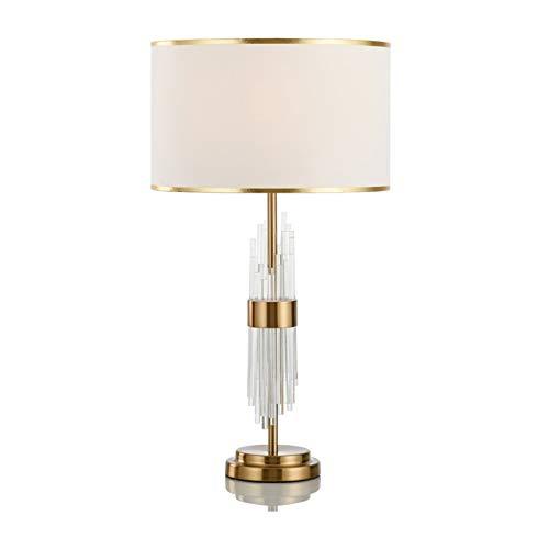 Lampada da Tavolo Lampada da tavolo di lusso moderna Lampada da tavolo in cristallo Lampada da tavolo E27 Camera da letto Lampada da comodino, paralume in tessuto, asta cristallina trasparente e base
