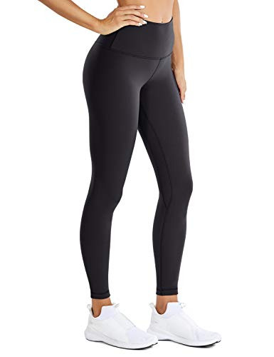 CRZ YOGA Women Matte Brushed Light Fleece Leggings Athletic High Waisted Squat Proof 7/8 Yoga Pants -25 Inches Black X-Small