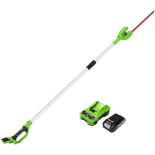 Greenworks - Podadora telescópica con batería de 24 V (cuchillas de acero de doble...