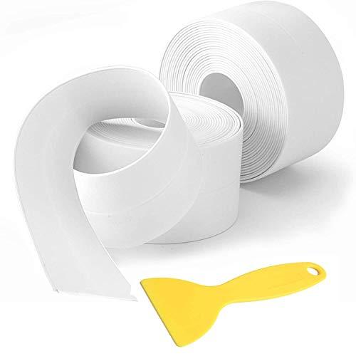 Caulk Strip Tape, 2 Pack PVC Waterproof Self-Adhesive Tape for Bathtub Bathroom Shower Toilet Kitchen Sink Floor Wall Corner Edge Sealing Protector with Sealant Tool, White (W:38mm L:11Ft) (White)