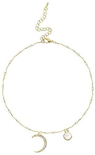 YZXYZH Collar con Colgante De Media Luna Collar De Candado Femenino Cadena De Hueso