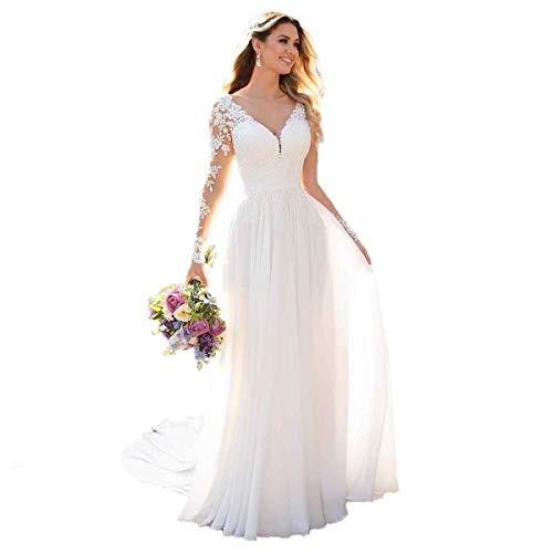 Nanger Damen V-Ausschnitt Hochzeitskleider Lang Ärmel Spitze Chiffon Boho Brautkleider Standesamt (Elfenbein, 32)