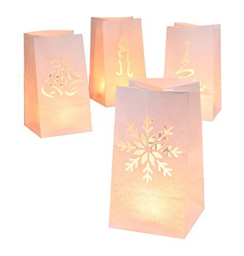 8 Stück Lichtertüten Weihnachten Dekoration Deko Leuchttüten Kerzen Tüten Licht Candle Bag