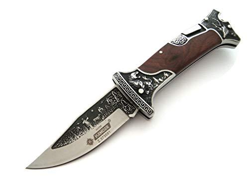 KOSxBO® Edles Jagdmesser mit Holzgriff und Gürtelclip | Ideales Geschenk für Jäger | Outdoor Messer | Klappmesser mit Hundeführer Motiv
