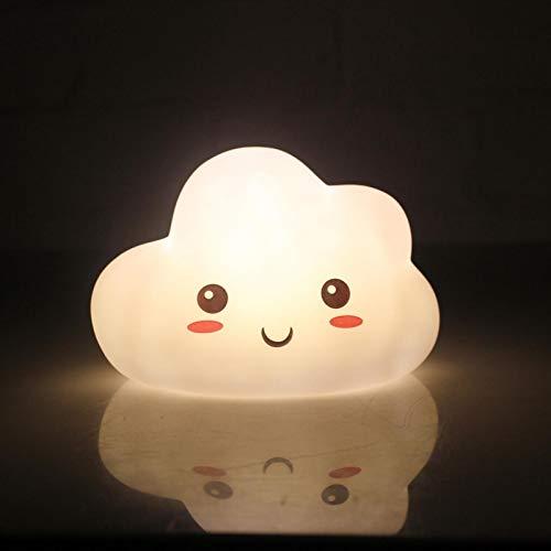 Luz nocturna, lámpara de noche, lámpara de mesa para niños, uso inalámbrico, batería, luz nocturna creativa de nube blanca, material de silicona