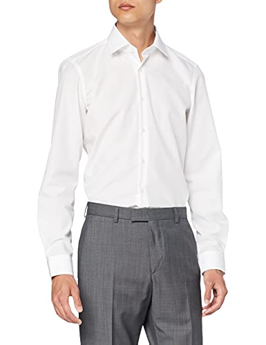 Strellson Premium 11 Chris 10000574 - Modern Fit - shirt d'affaires - Blanc (Weiß (Weiß 100)) -Tour de cou: 37 cm