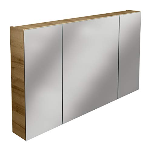 Lanzet Spiegelschrank L0 / Badezimmerschrank mit Spiegel/Maße (B x H x T): ca. 120 x 68 x 14,5 cm/Möbel fürs Bad oder WC/hochwertiger Schrank mit 3 Türen/Korpus: Braun hell/Front: Spiegel