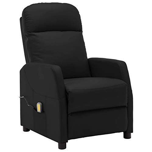 Tidyard Massagesessel Relaxsessel Fernsehsessel TV Sessel Liegesessel Polstersessel Massage und Heizung Ruhesessel Schwarz Kunstleder