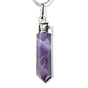"CHARGED Himalayan Amethyst Crystal Perfect Pendant + 20"" Silver Chain + Selenite Heart Charging Crystal Included (HEALING ENERGY)"