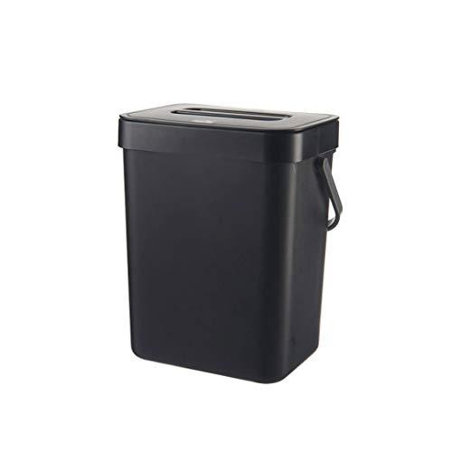 Fikujap Basura de plástico Colgante, con Tapa, con asa de Transporte, para Dormitorio de Cocina de Oficina,B,21 * 17.5 * 24.5cm