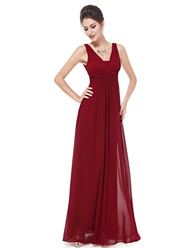 Ever-Pretty Sexy Chiffon V Neck Homecoming Dresses Long 10US Red