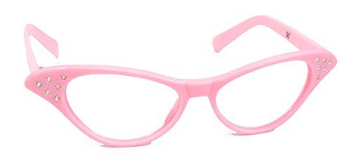 Hip Hop 50s Shop Womens Cat Eye Rhinestone Glasses, Light Pink