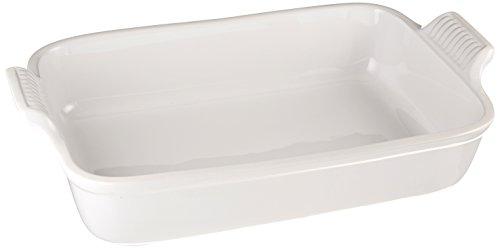 "Le Creuset Stoneware Heritage Rectangular Dish, 4 qt. (12"" x 9""), White"