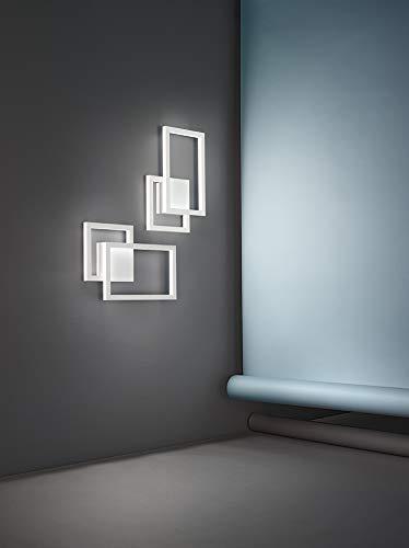 PERENZ Applique LED con 2 riquadri in alluminio Bianco e Diffusore Acrilico Lampada murale geometrica LED 20W 1500Lm 3000K Misure LxHxP 26x42x6 cm