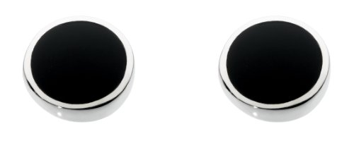 Dew Sterling Silver and Black Onyx Shell Round Stud Earrings