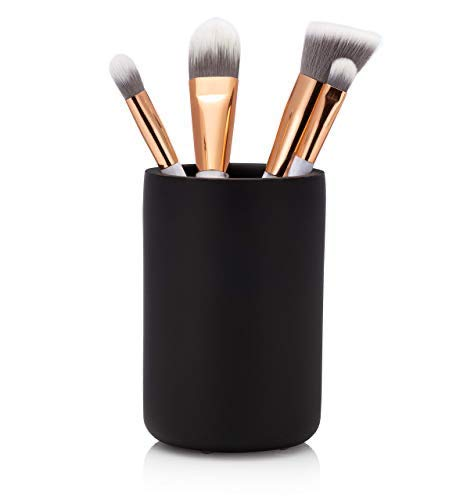 EssentraHome Matte Black Bathroom Tumbler Cup for Vanity Countertops, Also Great As Pencil Pen Holder and Makeup Brush Holder.