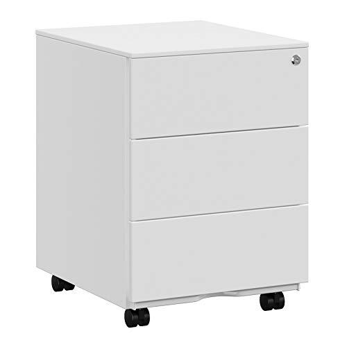 SONGMICS Rollcontainer, mobiler Aktenschrank, abschließbar, mit 3 Schubladen, Aufbewahrung von Akten, Büroutensilien, vormontiert, Büro, Homeoffice, 39 x 45 x 55 cm (L x B x H), weiß OFC63WT