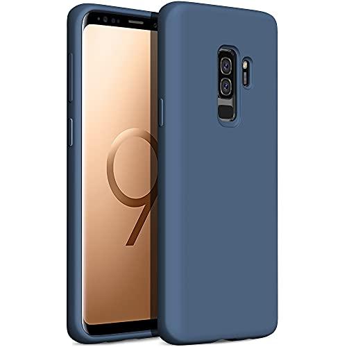 YATWIN Compatibile con Samsung Galaxy S9 Plus Cover 6,2'', Cover per Samsung Galaxy S9 Plus Silicone Liquido, Protezione Completa del Corpo con Fodera in Microfibra, Blu Notte