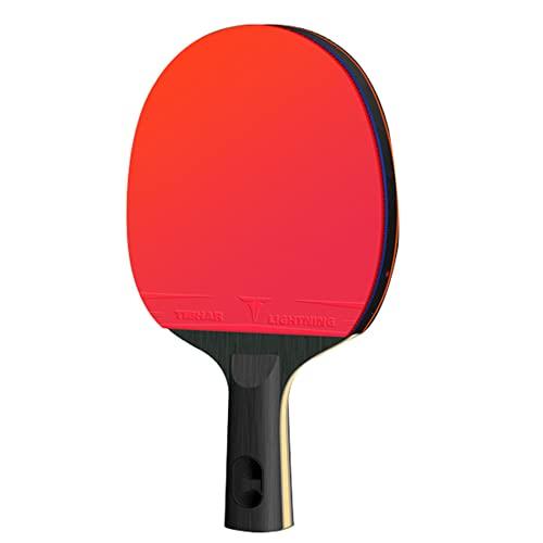 LINGOSHUN Raquetas de Tenis de Mesa Sports,Buena Velocidad y Rotación,Raquetas de Ping Pong de Entrenamiento Profesional Aprobada por la ITTF / 6 Stars/Short handle