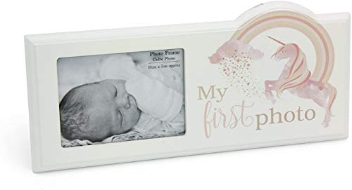 The Home Fusion Company Baby First Photo Licorne et Motif Arc Cadre Photo Cadeau de Baptême