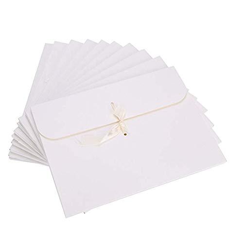 封筒 リボン付き 洋封筒 おしゃれ 洋形封筒 レターセット かわいい 手紙 招待状 挨拶状 案内状 感謝 結婚 ビジネス プレゼント ギフトボックス ギフトパッケージ (ホワイト)