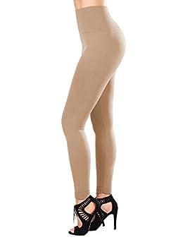 SATINA Super Soft Leggings High Waist Compression Slimming  One Size Nude