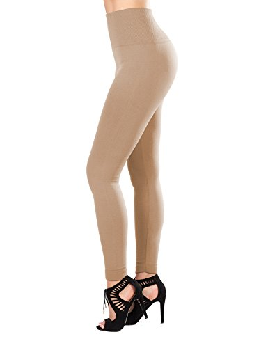 SATINA Fleece Lined Leggings High Waist Compression Slimming Warm Opaque Tights. (One Size, Nude)