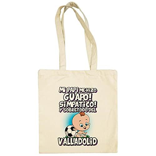 Diver Bebé Bolsa de tela mi papi me hizo guapo simpático y sobretodo aficionado al fútbol de Valladolid - Beige, 38 x 42 cm
