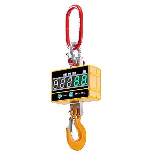KKTECT Báscula Colgante Industrial para Trabajo Pesado Báscula de grúa Digital súper Clara Recargable 2T con Mando a Distancia Báscula Colgante electrónica de Alta precisión de 2000 kg