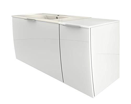 AcquaVapore Waschtisch mit Waschbecken, Unterschrank Gently 1 110cm R Hochglanz weiß