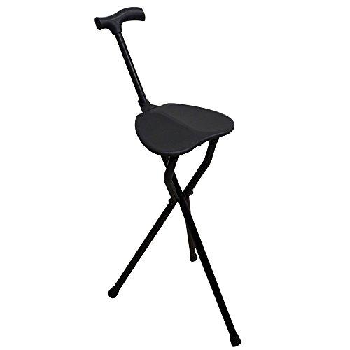 Bastón con asiento, Patas trípode, Colo negro, Aguanta hasta 100 kg, Aluminio muy resistente, Ligero, Ideal para personas mayores, Para senderistas, Para largas jornadas de paseo, Con puño derby ✅
