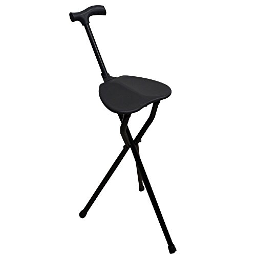 Bastón con asiento, Patas trípode, Colo negro, Aguanta hasta 100 kg, Aluminio muy resistente, Ligero, Ideal para personas mayores, Para senderistas, Para largas jornadas de paseo, Con puño derby