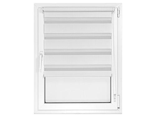 Doppelrollo in 4 Farben & in 8 Größen – mit Klemmfixierung am Fensterahmen und fest montierter Trägerschiene – kinderleichte 3-Step Montage, ca. 80 x 150 cm, weiß - 8