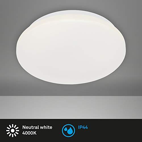 Briloner Leuchten - LED Deckenleuchte, Badleuchte, Badlampe, IP44, 12 Watt, 1.200 Lumen, 4.000 Kelvin, Weiß, Ø 28,8cm
