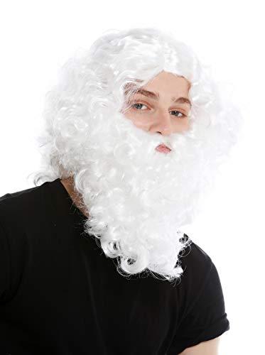 WIG ME UP - 8115-A+B-P68 Perücke Bart Vollbart Set Weiß Eremit Einsiedler Prophet Moses Noah Zauberer Magier Weihnachtsmann