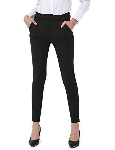 Bamans Dress Pants for Women Business Casual Stretch Skinny Work Pants with Pockets Black
