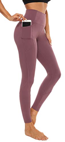 Persit Yoga Leggings Damen, Sport Tights Leggins Yogahose Sporthose für Damen Mauve-XS
