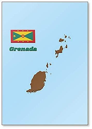 Kühlschrankmagnet, Motiv Karte & Flagge von Grenada