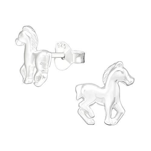 Laimons Mädchen Kids Kinder-Ohrstecker Ohrringe Kinderschmuck Pferd Pferdchen Pony Fohlen glanz aus Sterling Silber 925