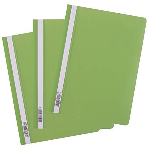 D.RECT 25 Stück | Schnellhefter A4 aus Kunststoff mit transparentem Vorderdeckel | Plastik-Schnellhefter aus PP-Folie Hellgrün